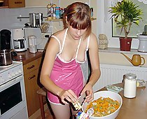 Cooking teen oops down blouse